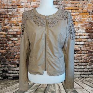 Point Zero Faux Leather Crocheted Jacket